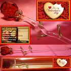 SINGLE RED ROSE GLASS HAPPY VALENTINES DAY GIFT ONE KEEPSAKE CARD TAG LOVE YOU