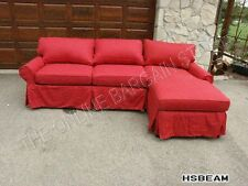 Pottery Barn PB Basic Modular Sofa Couch Sectional Cranberry Twill slipcover