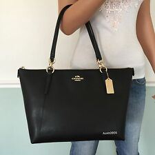 NEW! COACH Gorgeous Black Signature Leather Shoulder Bag Zip Tote Purse