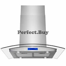 """30"""" Stainless Steel Wall Mount Range Hood with Tempered Glass LED Touch Panel"""