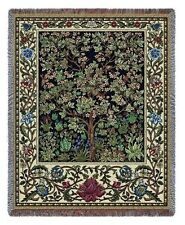 WILLIAM MORRIS TREE OF LIFE MIDNIGHT BLUE TAPESTRY THROW AFGHAN BLANKET 53x70