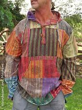 "NEW HIPPIE PATCHWORK SHIRT FESTIVAL TOP KURTA 44"" 46"" 48"" M L XL MENS TSHIRT"