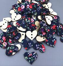 100 Stück Gemischte Farben Holz Knopf / Knöpfe Tuch Dekorative Nähen Heart 18mm