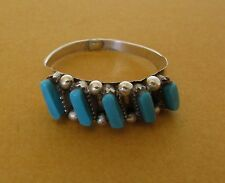 Native American Zuni Sterling Turquoise Petit-Point Ring Size 8.5 By Cletus lamy