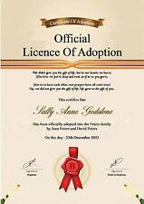 Adoption Certificate  A4 Quality 130gms Matt photo paper ( Novelty )