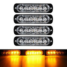 4x 6 LED Slim Super Bright Truck Emergency Grill Warn Strobe Light Bar Amber