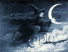 VINTAGE UGLY WITCH FLYING BROOM MOON BAT BLUE WITCHCRAFT WICCA CANVAS ART PRINT