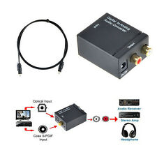 Digital Optical Toslink Coax to Analog L/R RCA Audio Converter Adapter +Cable 2Y
