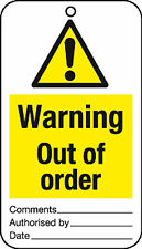 10 x Warning out of order tie tag signs - job lot health and safety