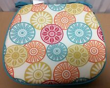 """RARE Set of 6 KITCHEN CHAIR PADS CUSHIONS w/strings, COLORFUL CIRCLES, 15"""" x 15"""""""