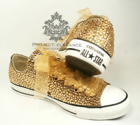 Women's Ladies Gold Crystal Bling Diamonte Rhinestone High Top Converse Size 3-8