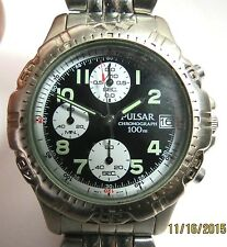 VINTAGE MENS QUARTZ PULSAR CHRONOGRAPH 100M DIVERS WATCH RUNS