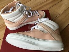New Ferragamo Pixy Rose Leather Calf Snake Sneaker 8 M Italy