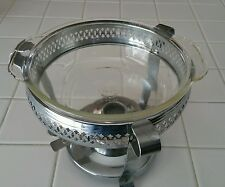 Chafing Casserole SET Warmer-glass Fire King dish 1 1/2 qt. Silver Plate vintage