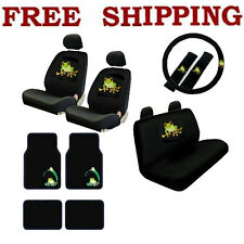 New 17pcs Set Green Tree Frog Car Front Rear Seat Covers & Carpet Floor Mats
