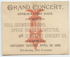 GAR invite*1888 GRAND CONCERT @ HAMBLIN'S OPERA 50 CENT