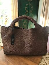 FALOR Firenze Woven  BROWN Leather X Large Tote  Handbag W/Wrist Pouch NWT