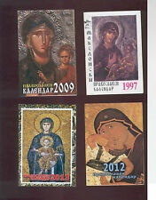 K, Macedonia, Orthodox Church Pocket calendars,1997, 2009, 2012, 2013, lot of 4