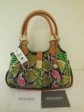Brand New Brahmin Elisa Multi Anaconda Genuine Leather I54630MU Shoulder Handbag