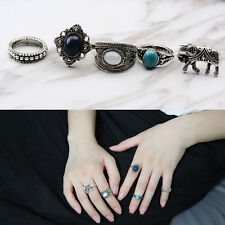 5stk/set Retro Boho Blumen Elefant Stein Dekor Fingerring Ring Fingerschmuck