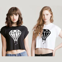 DRIPPING DIAMOND logo CROP TOP girly T SHIRT SWAG DOPE HIPSTER TUMBLR WTF fresh
