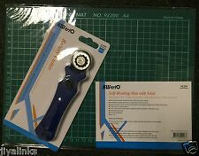 KW-triO 28mm Rotary Cutter+A4 Self Healing Grid Cutting Mat Non Slip Knife Board