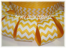1.5 EASTER YELLOW WHITE CHEVRON ZIG ZAG STRIPE GROSGRAIN RIBBON 4 HAIRBOW BOW