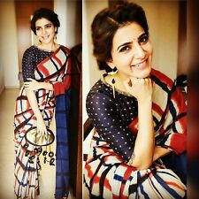 Abstract printed saree in georgette by purple Oyster