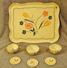 Vtg The Ohio Art Co. 7pc Tin Childs Childrens Tea Cup Saucers Tray Set Flowers