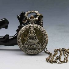 Oriental Vintage Collectible Handwork Eiffel Tower Portable Brass Pocket Watch