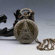 Oriental Vintage Collectible Handwork Eiffel Tower Portable Brass Pocket Watch