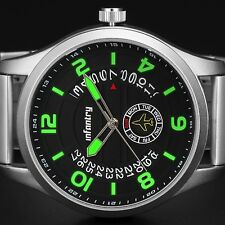 INFANTRY Mens Quartz Wrist Watch Date Day Luminous Analog Sport Stainless Steel