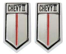 NEW Trim Parts Door Panel Emblem Badge PAIR / FOR 1966-67 CHEVY II NOVA / 3041