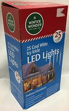 25 COOL WHITE ICY ICICLE CHRISTMAS LED LIGHT HOLIDAY OUTDOOR FROZEN MELTING ICE