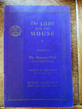 """1934 """"The Lion and the Mouse"""" Cretin High School MN Play Program Drama Club"""