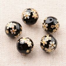 5pcs Flower Painted Glass Round Beads Black 12mm Hole 1mm Jewelry Craft Making