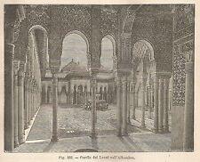 A5858 Cortile dei Leoni nell'Alhambra - Xilografia Antica del 1895 - Engraving