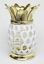 BBW White Barn GOLD PINEAPPLE Large 3-Wick Candle Holder 14.5 oz Sleeve Luminary