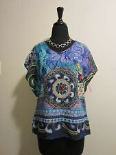 SUNNY LEIGH NWT Blue Ethnic Print Tunic Sz XS Silky Poly Top From Stein Mart