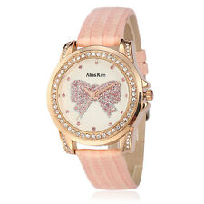 Alias Kim Pink Leather Band Rose Gold Case Crystal White Face Women Quartz Watch
