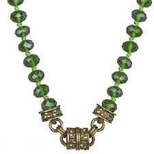 NEW KIRKS FOLLY TIMELESS CRYSTAL  BEAD MAGNETIC NECKLACE  BRASSTONE OLIVINE