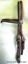 NEW MARISITA CHOCOLATE VEE BROW BRIDLE/HEADSTALL-JEREMIAH WATT BUCKLES&CONCHOS