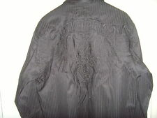 ROAR Mens Long Sleeve Shirt Button Down Black With TRIBAL Stitch XXL
