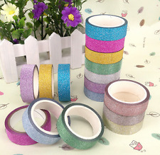 10pcs DIY Self Adhesive Glitter Washi Masking Tape Sticker Craft Decor 15mmx3m
