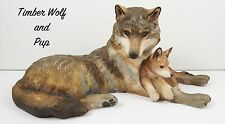 Large Franklin Mint Porcelain Wolf & Pup Woodland Repose Very Cute
