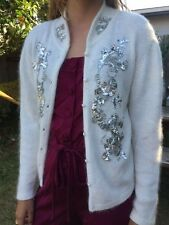 Silk Angora VTG 80s Silver Bead Sequins Embellished Cardigan Sweater Ivory Sz L