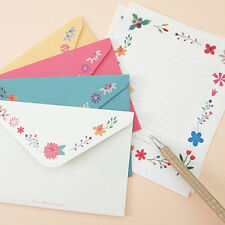 Beautiful Flower Butterfly 8 writing stationary letter paper with 4 envelope Set