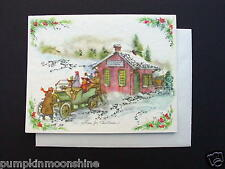 Vintage Unused Xmas Greeting Card Old Time Home for the Holiday Mica Glitter