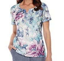 Alfred Dunner shirt size Large L  Blue, Pink, Green and White Lace floral print