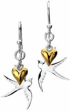 Pure Origins Sterling Silver 925 Swallow Bird Gold Plated Heart Drop Earrings wi